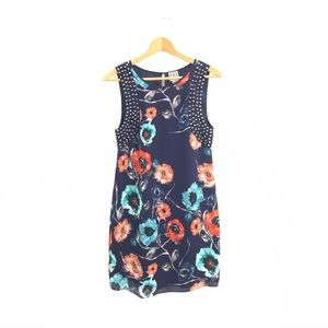 Haute Hippie Spiked Floral Sleeveless Dress